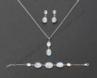 Wedding Silver Set: Bracelet, Pendant and Earring with Moonstone